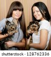 two cute girls with puppys - stock photo