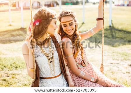 Two Cute Hippie Girl Setting Sun Stock Photo Royalty Free
