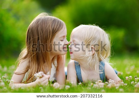 Two cute little sisters having fun while laying in the grass on a sunny summer day - stock photo