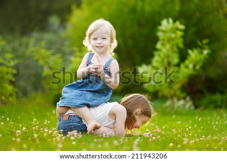 Two cute little sisters having fun while sitting on the grass on a sunny summer day