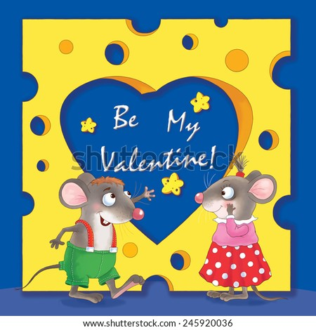 Two cute mice, and a huge piece of cheese with a heart-shaped hole. Valentine's day. Greeting card. Dark blue background  - stock photo