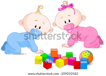 Two cute playing babies with cubes - stock photo