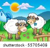 Two cute sheep behind fence - color illustration. - stock photo