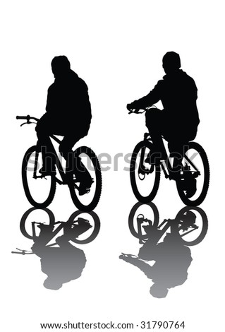 two cyclists. Silhouette on white background.