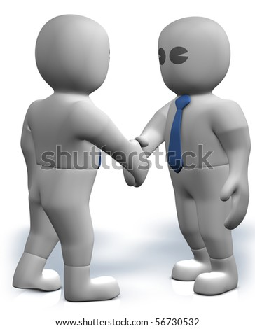 Two 3d businessmen give their hand for handshake - stock photo