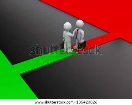 Two 3d businessmen shake hands on a puzzle bridge over gap - stock photo