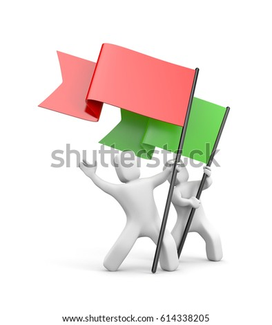 Two 3D character with colored flags. 3d illustration