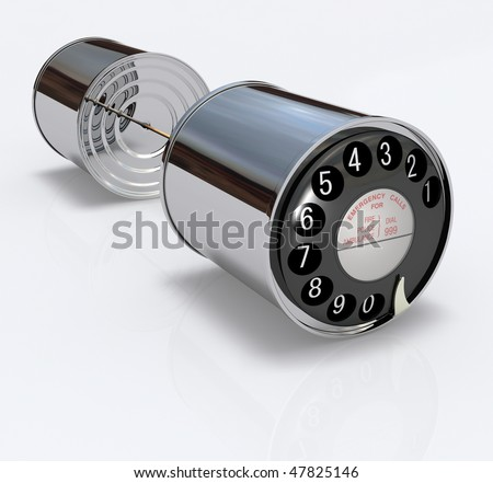 Two 3D chrome cans connected by a string with an old-fashioned phone dial disc with numbers - stock photo
