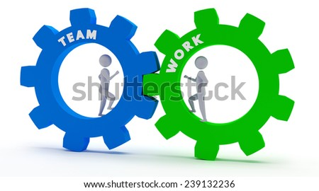 two 3d figures working in team - stock photo