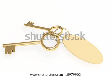 Two 3d gold keys with label. Objects over white - stock photo