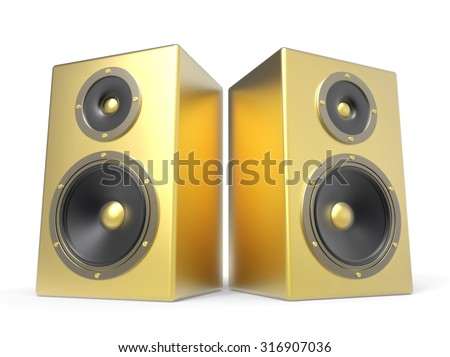 two 3D golden speakers isolated on white background - stock photo