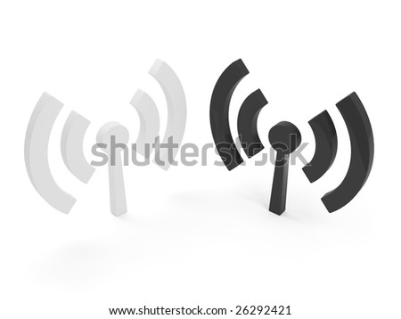 two 3d isolated wi fi (wireless) logo