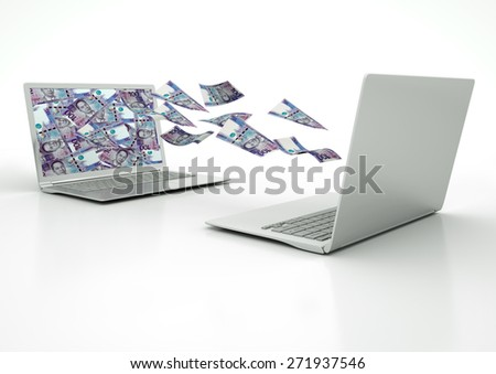 two 3D laptops transferring Philippines money banknotes isolated on white background