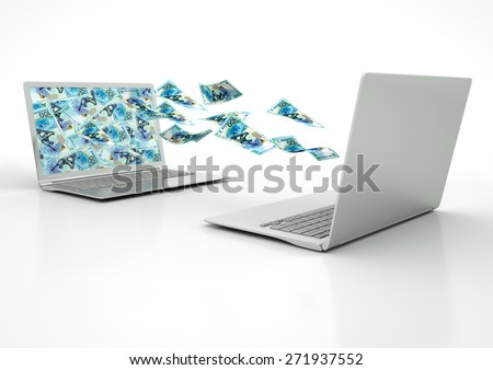 two 3D laptops transferring Russia money banknotes isolated on white background