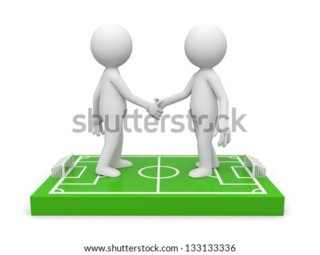 Two 3d men shaking hands on a football field model - stock photo