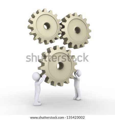Two 3d people are connecting a cogwheel to engine - stock photo