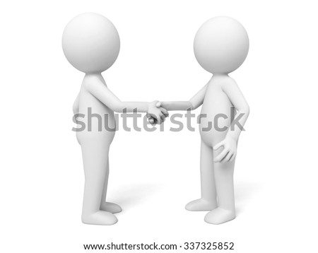 Two 3d people are shaking hands