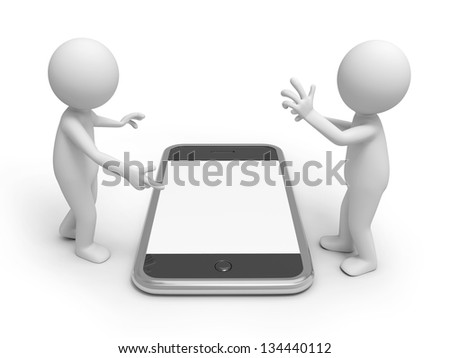 Two 3d people discussing, a mobile phone being between them
