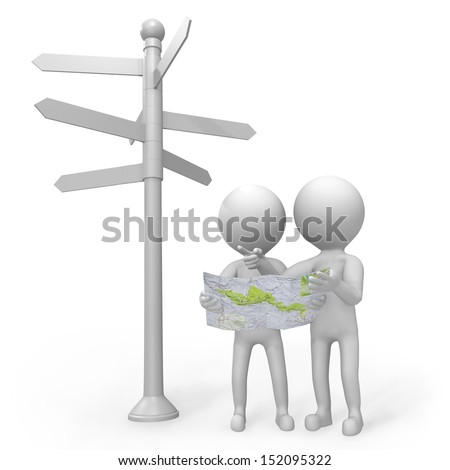 Two 3d people standing at a crossroads below a signpost with multiple arrows pointing in many directions with a map trying to decide on the route to follow - stock photo