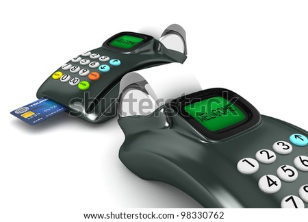Two 3D POS-terminal with credit card isolated - stock photo
