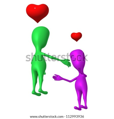 Two 3d puppet feeling love to each other - stock photo