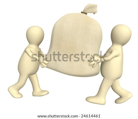 Two 3d puppets carrying big bag - stock photo