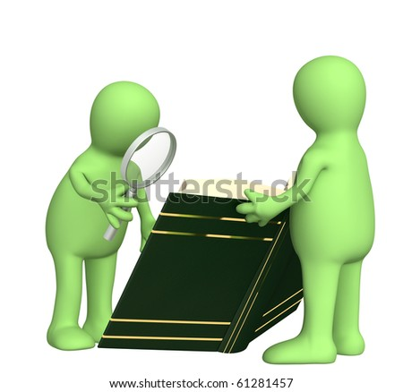 Two 3d puppets with book and loupe - stock photo