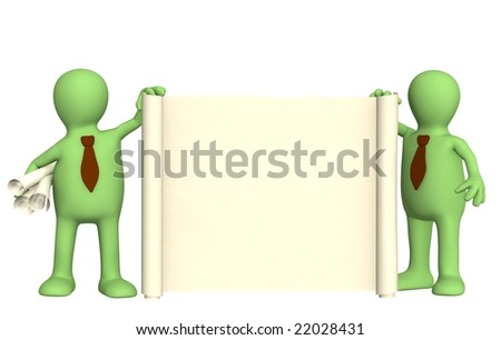 Two 3d puppets with roll of document - stock photo