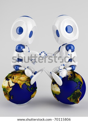 two 3d  robots holding their hands sitting on the world globe