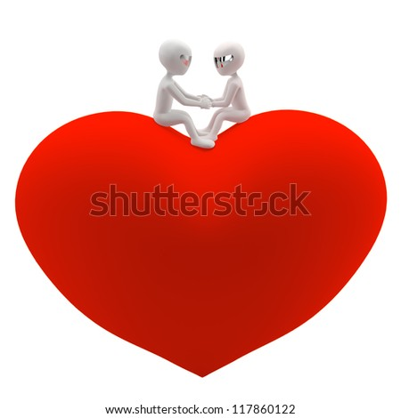 Two 3D small man and a woman sitting on a red heart. Holding hands and looking at each other. Isolated on white background. 3D image. - stock photo
