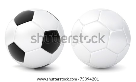 two 3d soccer balls - stock photo