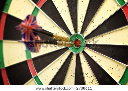 Two darts in the bull's eye - stock photo