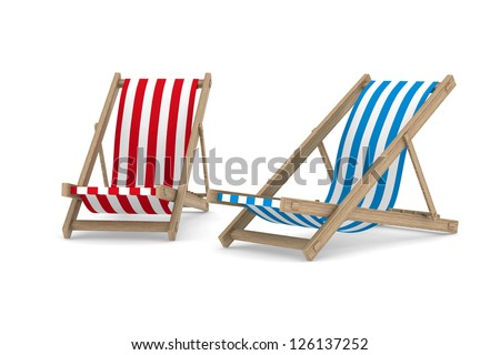 Two deckchair on white background. Isolated 3D image - stock photo