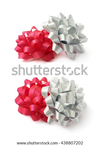 Two decorational red and silver ribbon gift bows, composition isolated over the white background, set collection of two diffirent foreshortenings - stock photo