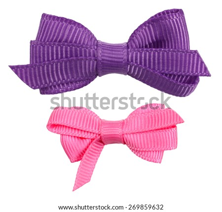 Two decorative ribbon bow ties purple pink - stock photo