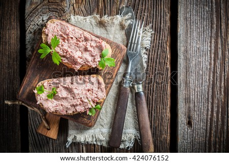 Two delicious sandwich made of pate with parsley - stock photo