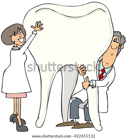 Two dentists holding up a giant tooth