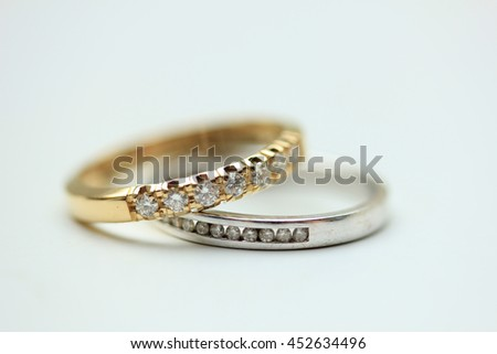 Two diamond wedding bands for a double bride wedding