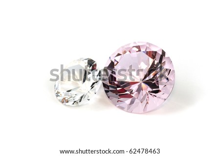 Two diamonds close up, isolated on white background - stock photo