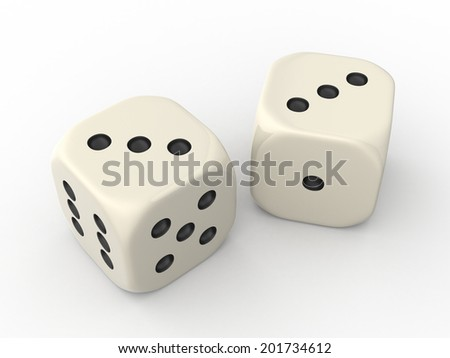 Two Dice Cubes showing Three Points each
