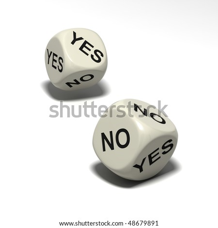 two dice with words YES and NO, isolated on white background - stock photo