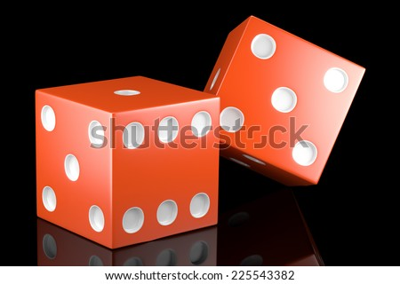 Two dices on black background with reflection. 3d illustration