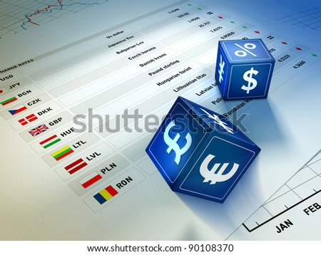 Two dices with currency symbols rolling on an exchange rates table. Digital illustration. - stock photo