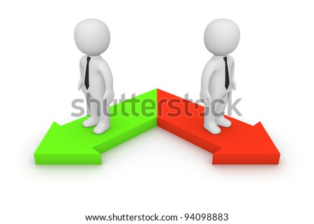 Two different directions - stock photo