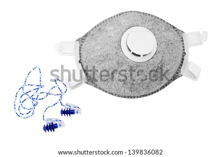 Two different respirator and   earplugs, isolated on a white background
