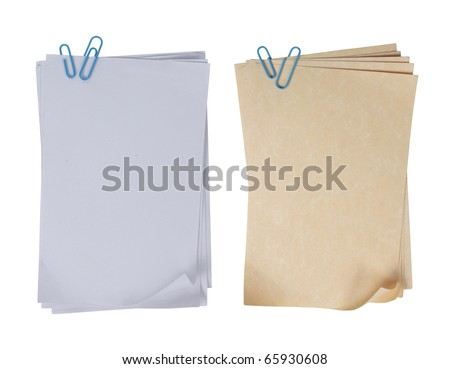 two different types of paper attached with blue paper clip - stock photo