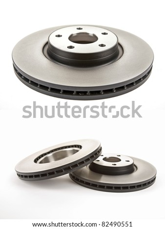 two different views of the brake discs - stock photo