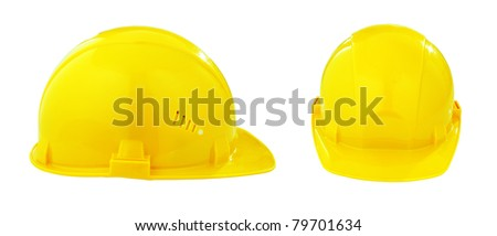 two different views of yellow safety hard hat isolated with clipping path included - stock photo