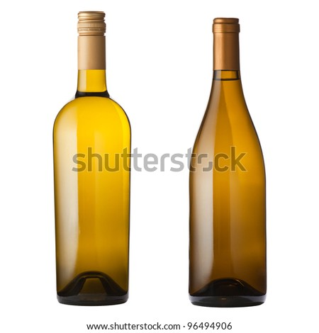 Two different white wine bottles isolated on white with clipping path. - stock photo