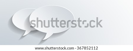 Two dimensional plain blank white oval speech bubbles with shadows overlaid on a panoramic banner with grey gradient color and copy space for your text. 3d Rendering.  - stock photo